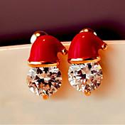 산타 클로스 모자 스터드 귀걸이 귀걸이