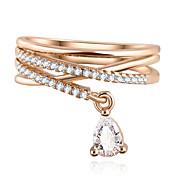 결혼식 파티 물 드롭 지르콘 펜던트 크로스 다중 층짜리 반지 명품 쥬얼리 (금)