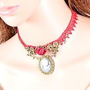 Mujer Gargantillas Forma Oval Forma de Corona Tela de Encaje Moda Euramerican Británico Clásico Rojo Joyas ParaBoda Fiesta Ocasión
