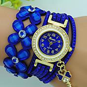 Mujer Reloj Pulsera Cuarzo Brillante Piel Banda Flor Bohemio Negro Azul Rojo Marrón