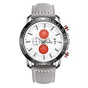 Hombre Reloj Deportivo Reloj de Moda Japonés Cuarzo Calendario Cuero Auténtico Banda Marrón Gris