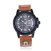 jewelora Hombre Reloj Deportivo Reloj de Moda Reloj de Pulsera Chino Cuarzo Resistente a los Golpes Punk Esfera Grande Piel BandaCool