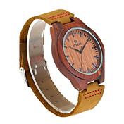 Hombre Reloj Madera Japonés Cuarzo de madera Cuero Auténtico Banda Elegantes Marrón