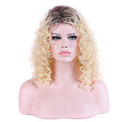 Mujer Pelucas sintéticas Sin Tapa Largo Rizado Rubio beige Pelo Ombre Peluca natural Las pelucas del traje