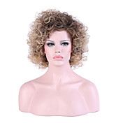Mujer Sin Tapa Medio Rizado rizado Negro / Honey Blonde Pelo Ombre Entradas Naturales Corte a capas Peluca de cosplay Peluca natural