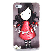 Joyland Lovely Girl with Paper-cut Pattern Hard Case for iPhone 4/4S