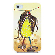 Cartoon Girl in Yellow Pattern Hard Case for iPhone 4/4S