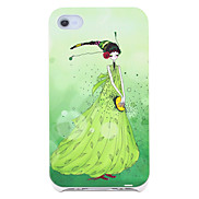Cartoon Girl in Green Pattern Hard Case for iPhone 4/4S