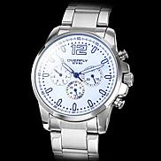 Men's Calendar Function Silver Case Steel Analog Quartz Wrist Watch (Assorted Colors)