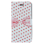 Fragrant Smell Bowknot and Hearts Pattern Full Body Case with Matte Back Cover and Stand for iPhone 5/5S