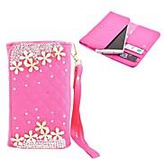 Elonbo Diamond Grain Shining Flower Style Leather Wallet Full Body Case for Iphone4/5/5C