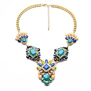 Exaggerated Vivid Colors Resin Gem Flower Gold Plated Necklaces (1 Pc)