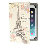 Retro Eiffel Tower Pattern Adjustable Clamp Style PU Leather Case Universal for Samsung 9.0&10.0 Inches Tablets