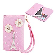 Elonbo The Eiffel Tower and Bright Flowers Style Leather Wallet Full Body Case for Iphone4/5/5C