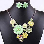 Oildrip Diamanted Five Flower  Alloy (Necklaces&Earrings&) Gemstone Jewelry Sets(More Color)