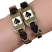 Galaxy Retro Handmade DIY Lover Time Multicolor Alloy Glass Leather Warp Bracelet(1 Pc)(Black,Brown)(As Picture 14)