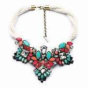 Colorful Triangle Flower Design White Rope Weave Necklaces (1 Pc)