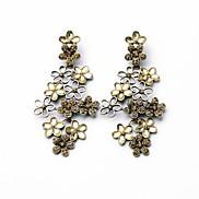 Vintage Dazzling Flowers Alloy Drop Earrings (1 Pair)