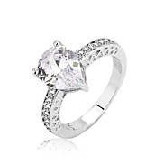 Water Drop Shape Rhodium Plated Rings for Women Fashion Jewelry White Cubic Zirconia Ring