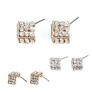 Exquisite Sharp Cone Shape Three-Dimensional Magic Square Full Crystal-Setting Metal Earrings  (1 Pair)
