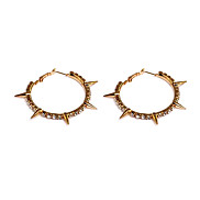 Fashion (Round) Gold Alloy Hoop Earrings(Gold)(1Pair)