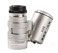 Mini 60X Microscope with 2-LED Illumination + Currency Detecting UV Light (3*LR1130)
