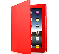 Protective Hard PU Leather Case Skin with Stand for iPad 2/3/4 (Red)