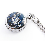 Antique orchid quartz small pocket watch necklace chain (Blue) Cool Watches Unique Watches