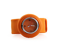 Silicone Band Fashiona Women Casual Jelly Clap Watch - Orange