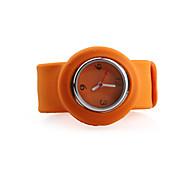 silicone banda mulheres fashion casual geléia clap relógio - laranja