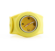Silicone Band Fashiona Men Casual Jelly Clap Watch - Yellow
