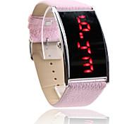 Women's Red LED Digital Pink PU Band Wrist Watch