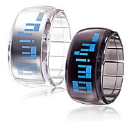 Futuristisk blå digital LED-armbandsur (svart och vit, 1 par)