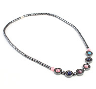 Magnetic Necklace with Circles and Colorful Stones