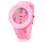 borracha de silicone de cristal elegantes relógio de pulso round - rosa