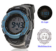 Waterproof Digital Multifunction EL Light Automatic Watch with Calendar & Alarm & Chronograph - Blue Cool Watch Unique Watch