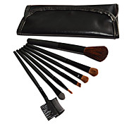 7 Pcs Wool Makeup Brush Set with Free Black Leather Pouch