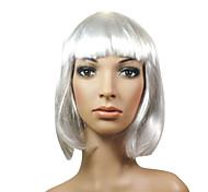 capless midlong synthétique de haute qualité belle perruque blanche