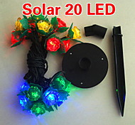 Solar 2M 20-LED Colorful Light Flower Design String Lamp for Christmas