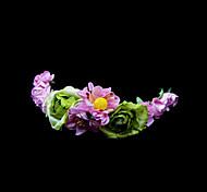 Pink Daisy And Green Rose Flower Girl Garland/Headpiece