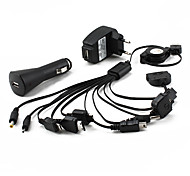10-in-1 Multiplug Car Cigarette and AC Charger for Cell Phones (EU plug, Black)