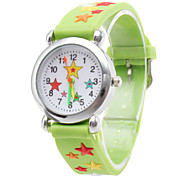 Silicone Analog Quartz Wrist Watch with Cartoon Star (Green)