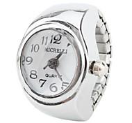 elegante mulher liga analógico anel quartzo relógio (prata)