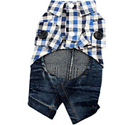 shirt per cani di plaid con i jeans di stile denim (XS-XL)