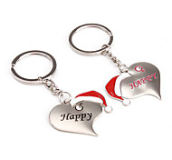 Heart Shaped Metal Keychains with Christmas Hat (1 Pair)