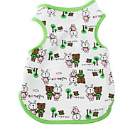 Cartoon Rabbit and Bear Style Cotton Vest for Dogs (XS-XL, Green)