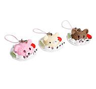 Cute Plate Shaped Bear Ice Cream Keychain (Random Colors)