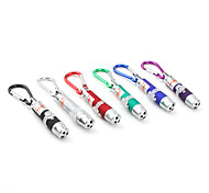 Mini 1-Mode Aluminum Alloy 3-LED Flashlight Keychains (3xLR44, Random Color)