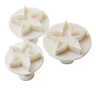 bolo estrela padrão e biscoitos molde de corte com êmbolo (3 peças)