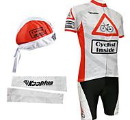 bicicleta trajes babero con pañuelo en la cabeza y calentadores de brazo (rojo y blanco)